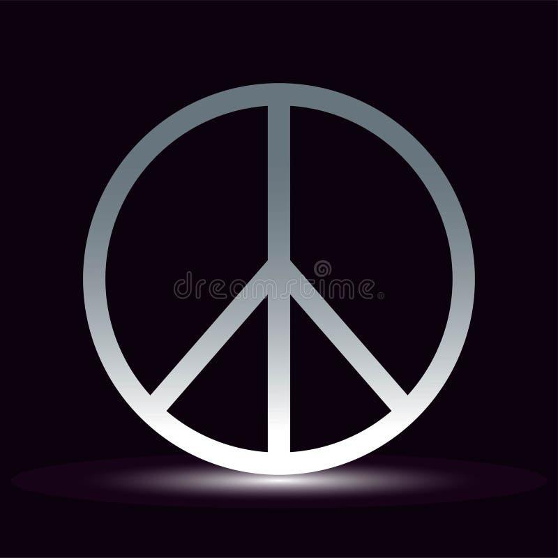 Pokój, przyjaźń, pacyfizm, hipisa symbolu ikony czarny wektor odizolowywający na białym tle ilustracji