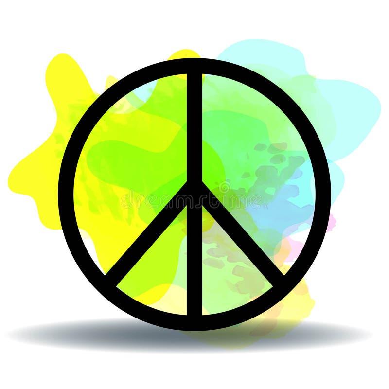 Pokój, przyjaźń, pacyfizm, hipisa symbolu ikony czarny wektor odizolowywający na białym tle royalty ilustracja