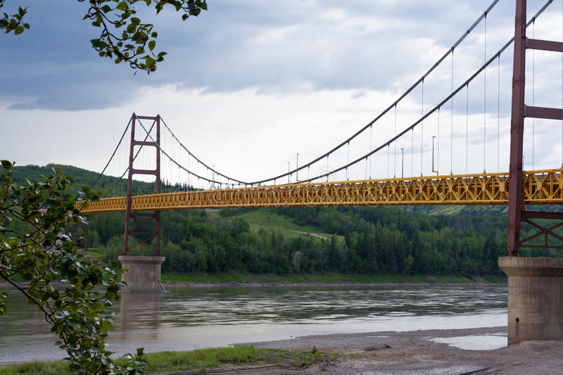 Pokój rzeki most Dunvegan Alberta Kanada obraz stock