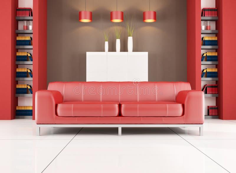 pokój współczesny żywy czerwony pokój ilustracja wektor