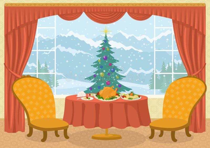Pokój z choinką w okno ilustracji
