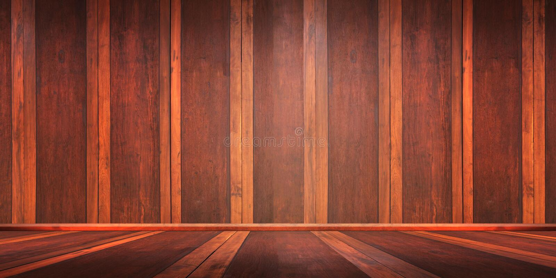Pokój z drewnianą podłoga i ściana z cegieł dla produktu pokazu montażu, może używać dla montażu lub wystawiać twój produkty obrazy stock