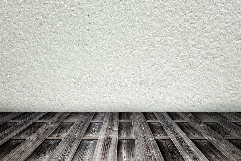 Pokój z drewnianym podłoga i cementu ściennym tłem zdjęcie stock