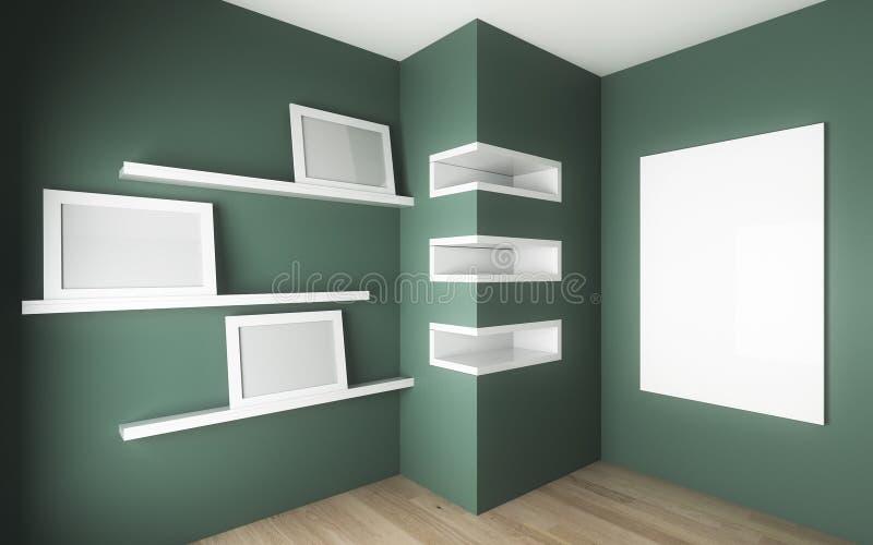 Pokój z gabinetem i półką ilustracja wektor