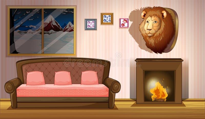 Pokój z lew ściany wystrojem ilustracja wektor