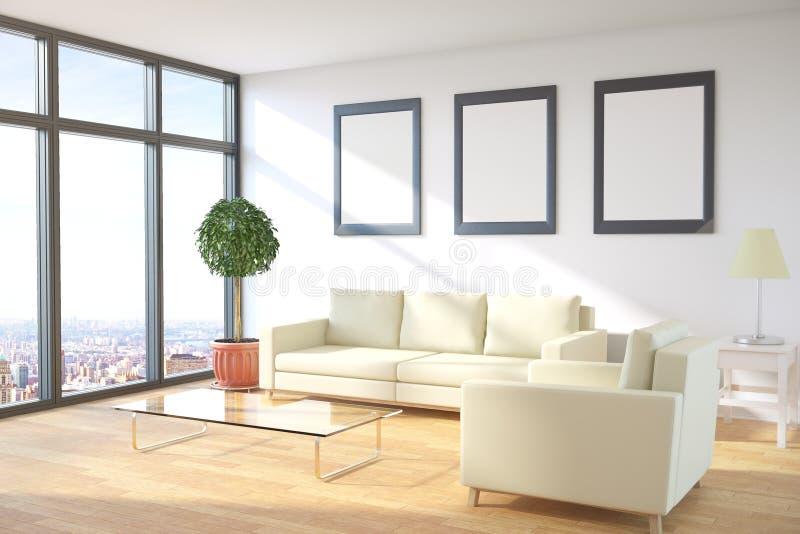 Pokój z obrazek ram stroną ilustracja wektor