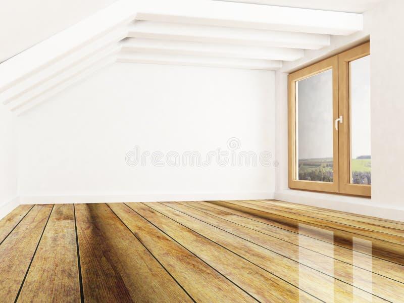 Pokój z odsłoniętymi promieniami i okno royalty ilustracja