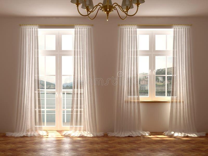 Pokój z okno i balkonowym drzwi fotografia royalty free