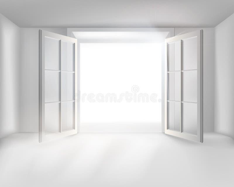 Pokój z otwarte drzwi również zwrócić corel ilustracji wektora royalty ilustracja