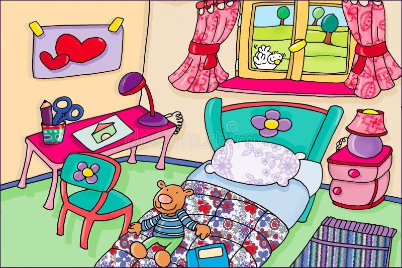 Pokój z przedmiotami, rysunek, kamera ilustracja wektor