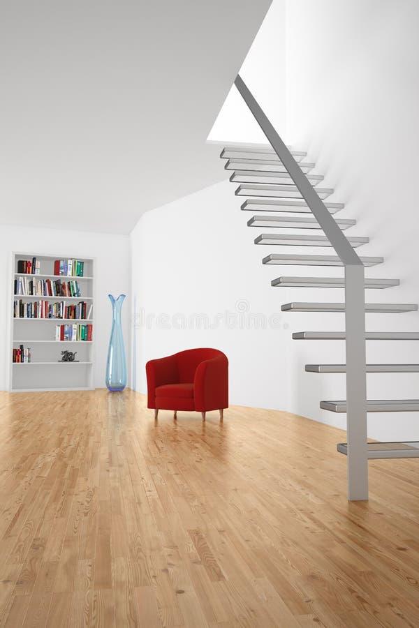 Pokój z schodkami i siedzeniem ilustracja wektor