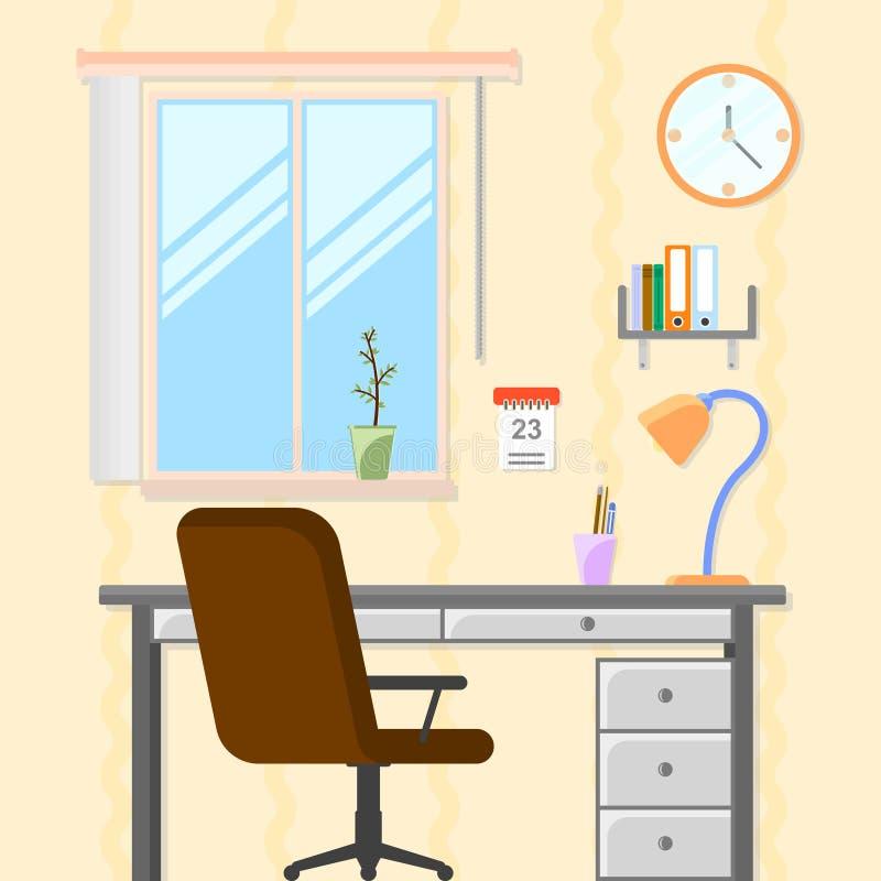 Pokój z stołem i krzesłem Miejsce pracy dla uczyć i uczyć się również zwrócić corel ilustracji wektora ilustracja wektor