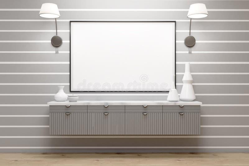 Pokój z szarymi kreślarzami, lampy, plakat, szarości ściana ilustracja wektor