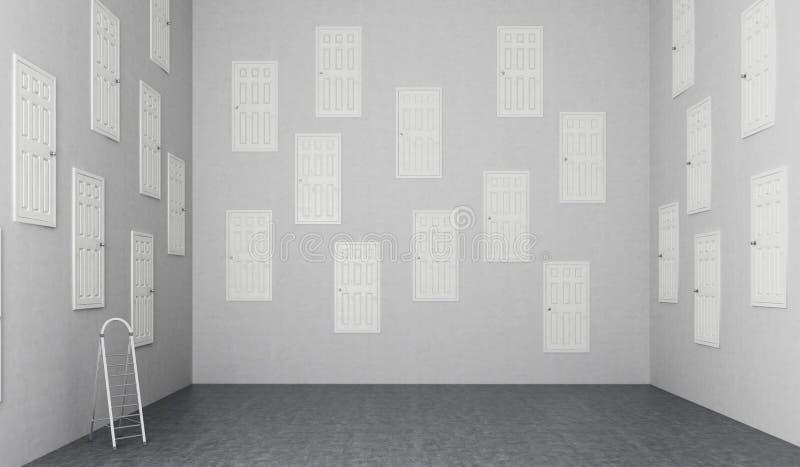 Pokój z wiele drzwiami ilustracji
