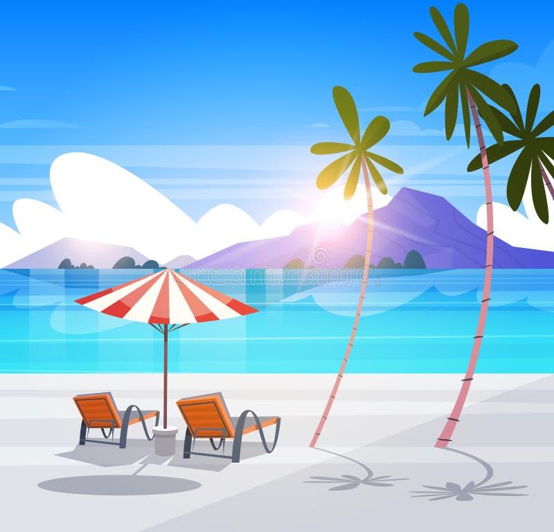 Pokładów krzesła Na Tropikalnego Plażowego lato nadmorski krajobrazu raju Egzotycznym widoku ilustracji