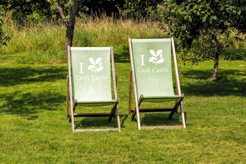 Pokładów krzesła przy Croft kasztelem, Herefordshire, Anglia fotografia stock