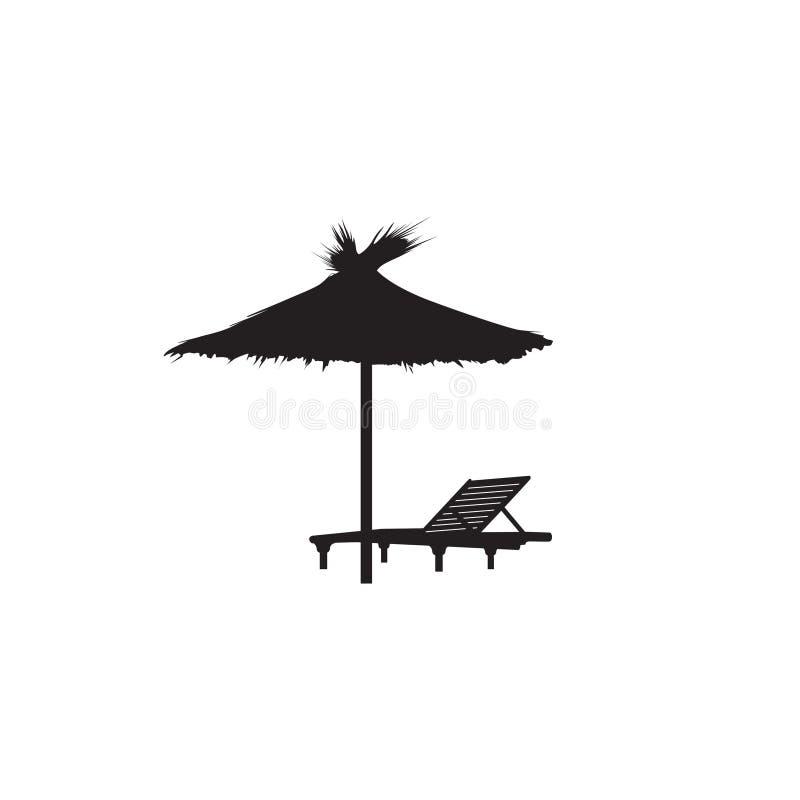 Pokładu krzesła lata parasolowej plaży symbolu wakacyjna ikona ilustracji