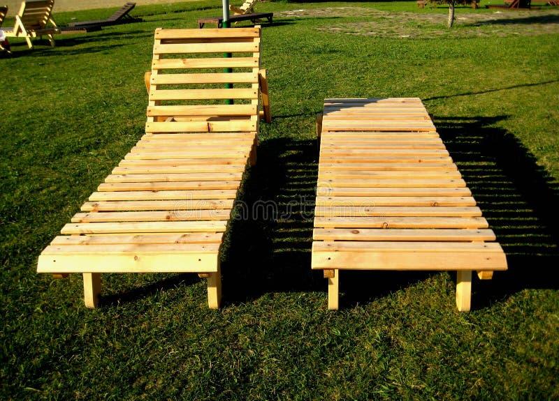 Pokładu krzesło robić drewniane deski obrazy stock
