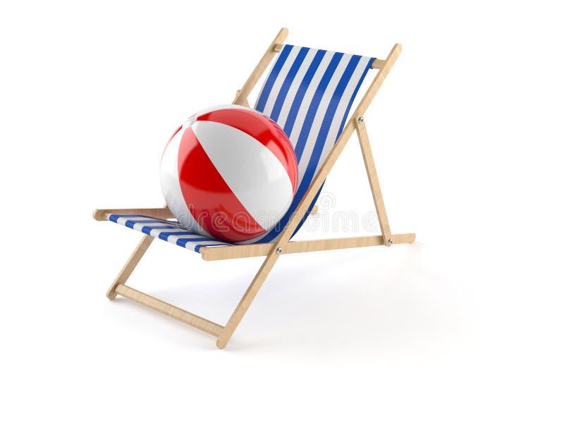 Pokładu krzesło z beachball royalty ilustracja