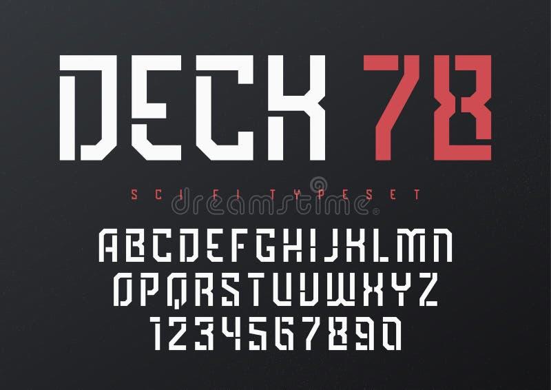 Pokładu 78 pokazu typeface wektorowy futurystyczny przemysłowy projekt, al royalty ilustracja