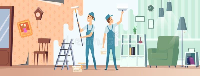 Pok?j naprawa Domowi budowniczowie z fachowego wyposażenia repairman odświeżania izbowymi wektorowymi ilustracjami ilustracji