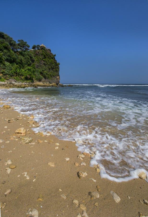 Pok Tunggal Beach, Jogjakarta, Indonésia fotografia de stock