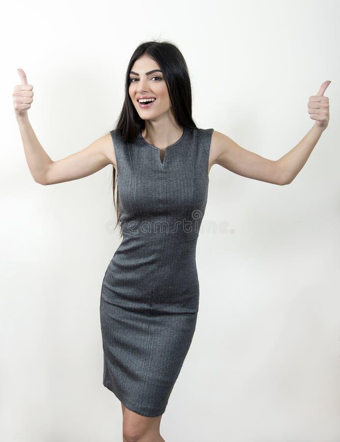 pokaż biznesowej kciuki w górę kobieta obrazy stock