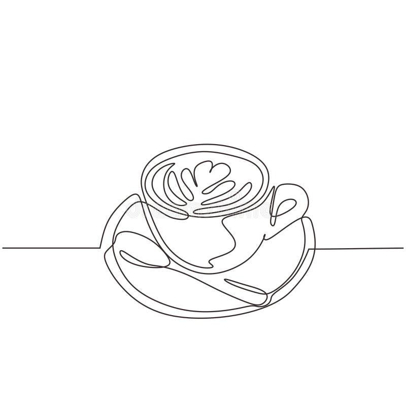 Pokal Kaffee eine Linie Zeichnung mit Teller und Löffel Endlos handgezeichnetes einfaches Design lizenzfreie abbildung