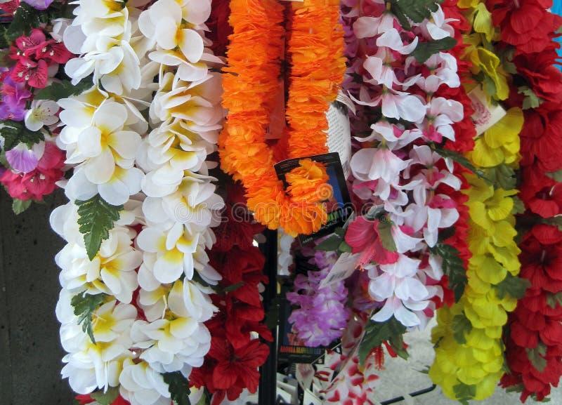 Pokaz kolorowi leis w Hawaje zdjęcie stock