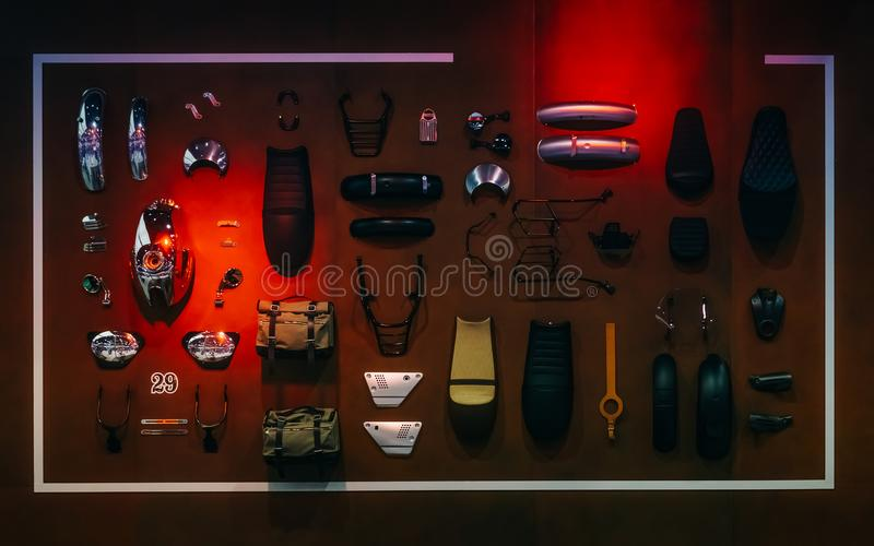 Pokaz motocykli/lów akcesoriów i dodatkowych części przygotowania h fotografia stock