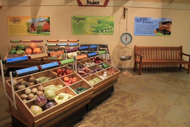 Pokaz owoc i warzywo w życia Wegmans sklejonym sklepie projektującym dla dzieciaków Silny muzeum, Rochester, Nowy Jork, 2017 obrazy royalty free