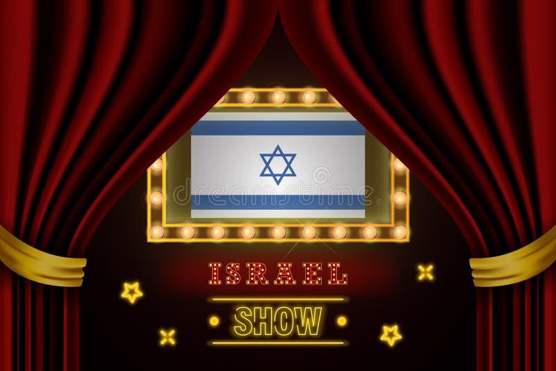 Pokazuje czas deskę dla występu, kino, rozrywka, ruleta, grzebak Izrael kraju wydarzenie Ol?niewaj?cy ?ar?wka rocznik royalty ilustracja