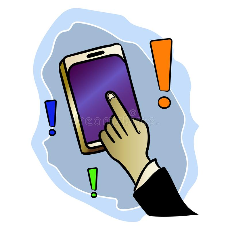 Pokazuje odpowiedź z twój palcem na telefonie komórkowym w zastosowaniu przygotowywa ikonę royalty ilustracja