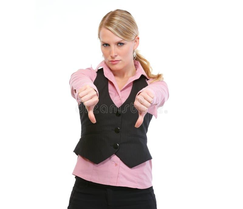 pokazywać kciuk kobiety puszka pracownik obraz royalty free