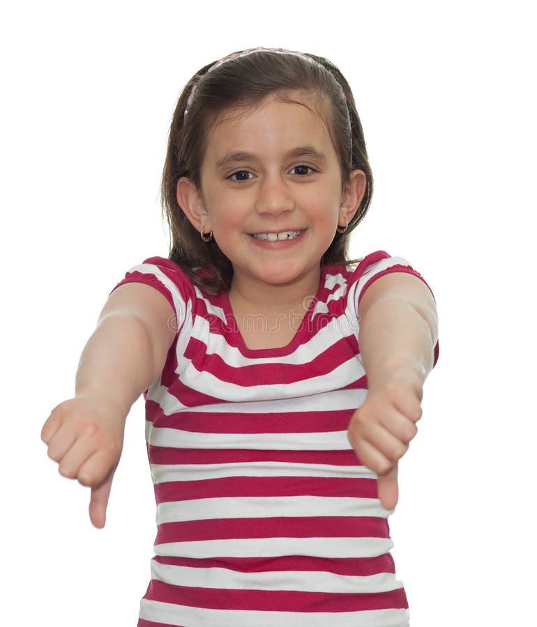 pokazywać kciuki młodych puszek dziewczyna obrazy stock