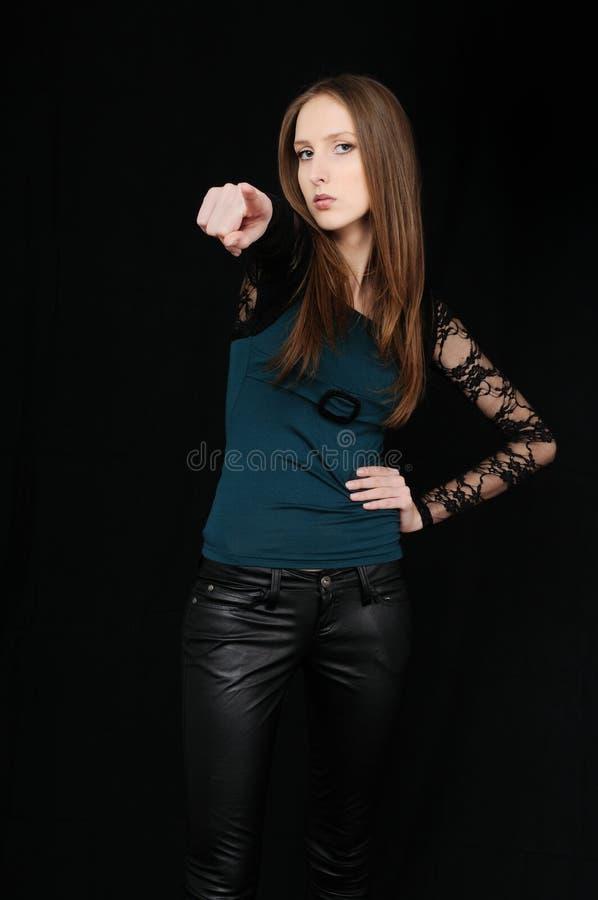 pokazywać nastoletnich potomstwa piękna palcowa dziewczyna fotografia stock