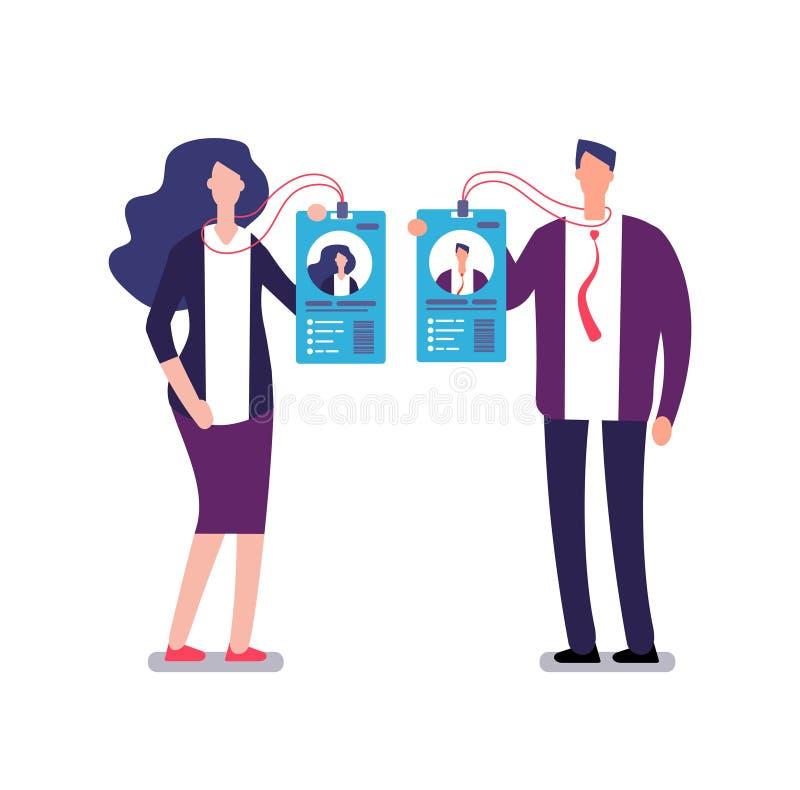 Pokazywać odznakę Ochrony przepustki dojazdowa tożsamościowa karta Biznesmen i bizneswoman w garniturze pokazujemy id odznaki ilustracja wektor