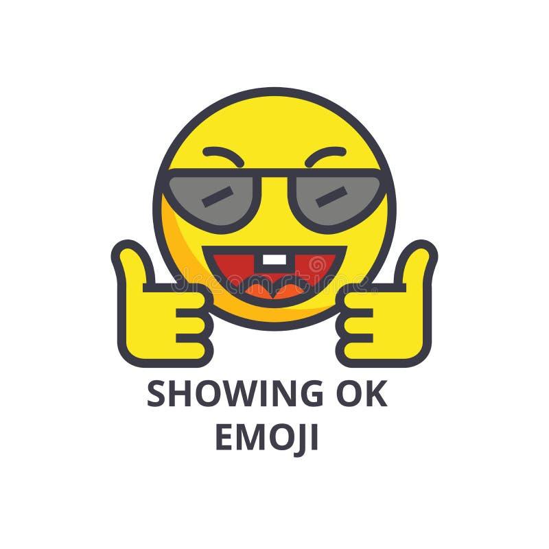 Pokazywać ok emoji wektoru linii ikonę, znak, ilustracja na tle, editable uderzenia ilustracji