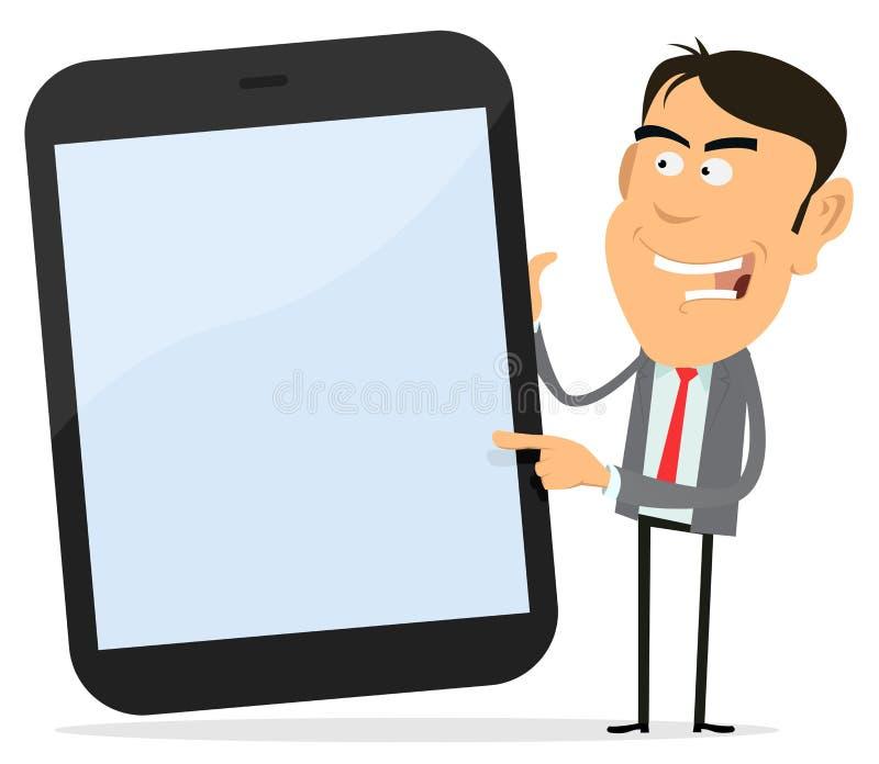 pokazywać pastylkę biznesmena komputer osobisty ilustracja wektor