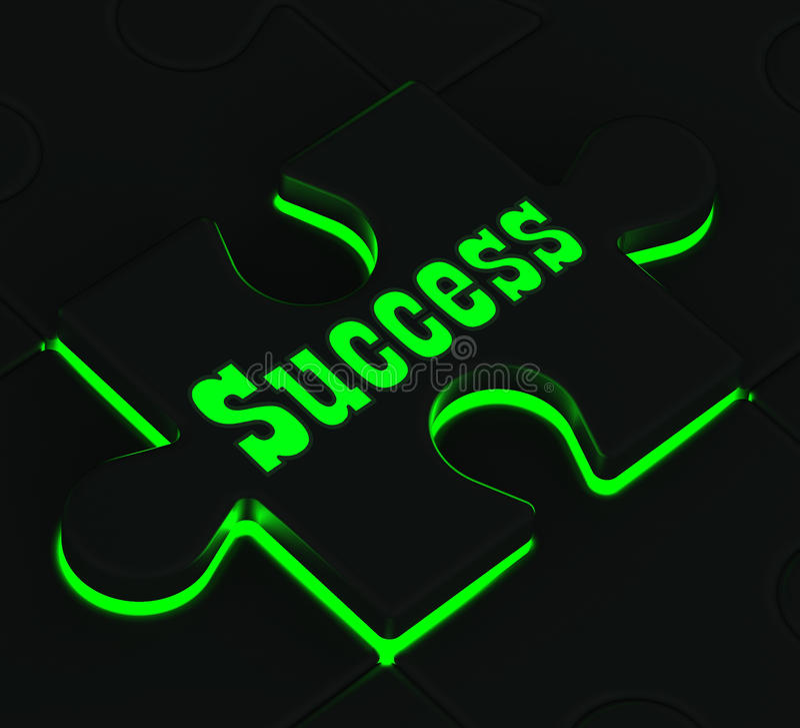 Pokazywać Pomyślnych Osiągnięcia sukces Łamigłówka ilustracji