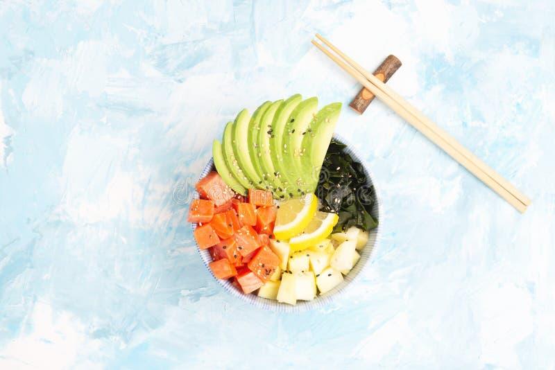 Poke bowl on colorful background vector illustration
