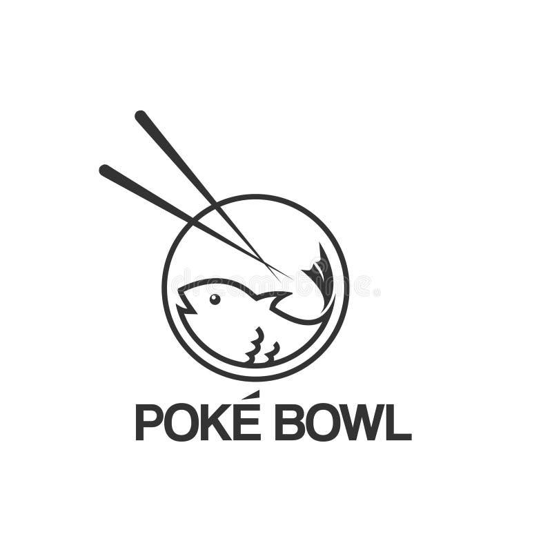 Poke bowl fish logo design template vector illustration royalty free illustration