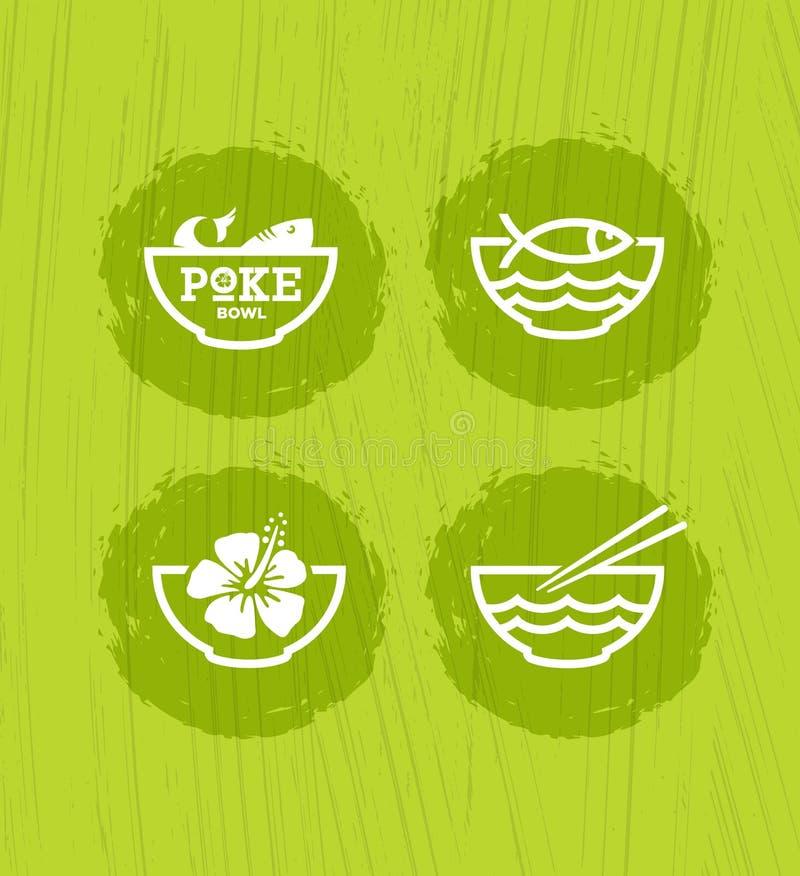 Poke Bowl Hawaiian Cuisine Restaurant Vector Design Element. Healthy Food Menu Creative Rough Illustration royalty free illustration