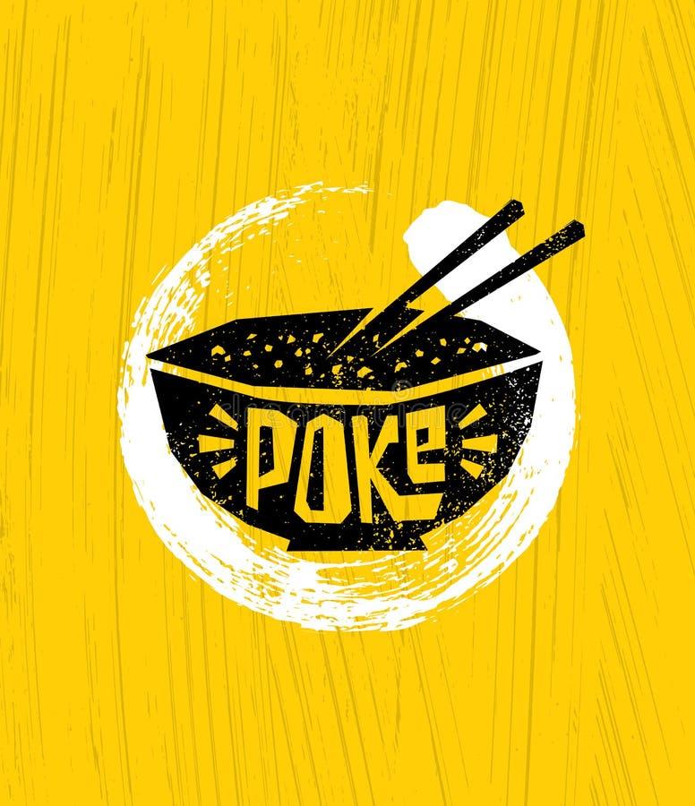 Poke Bowl Hawaiian Cuisine Restaurant Vector Design Element. Healthy Food Menu Creative Rough Illustration vector illustration