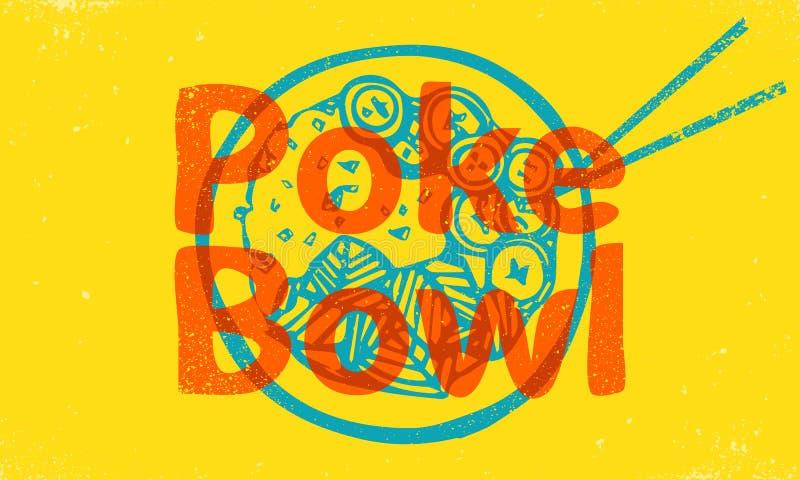 Poke Bowl Hawaiian dish with rice, fresh fish royalty free illustration