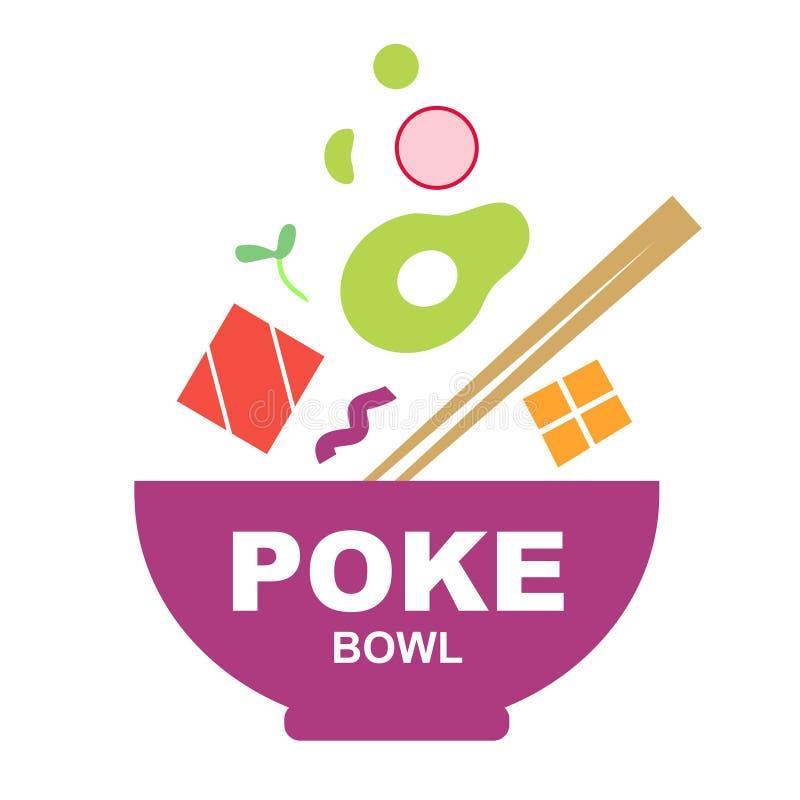 Poke bowl logo on white background royalty free illustration