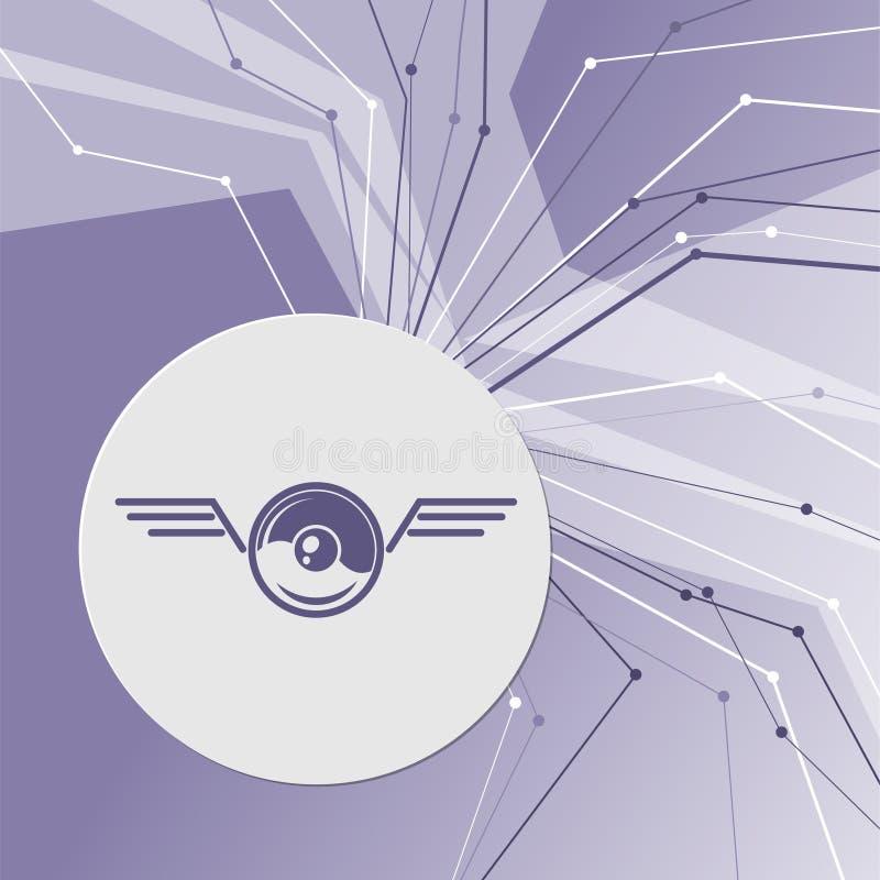 Pokeball voor spel in spelpictogram op purpere abstracte moderne achtergrond De lijnen in alle richtingen Met ruimte uw reclame stock illustratie