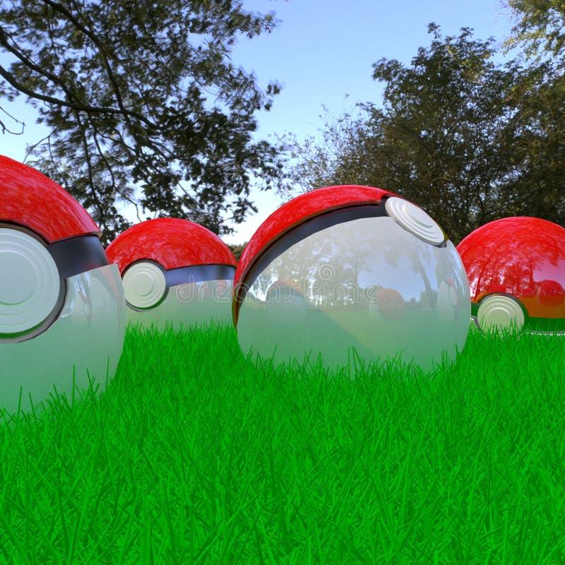 Pokeballs 3d realísticos imagens de stock