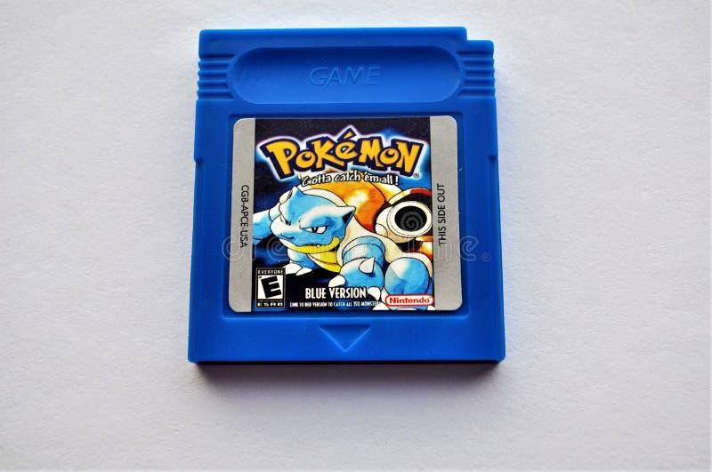 Pokemon Blue GameBoy Cartridge game. royalty free stock photo