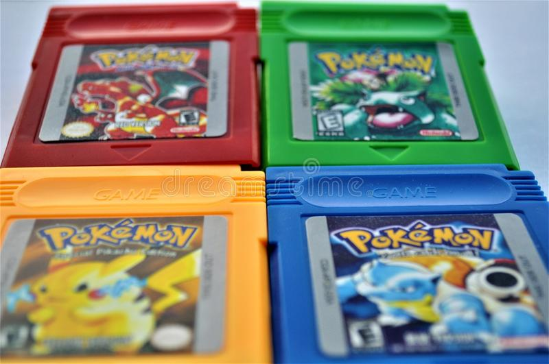 Pokemon 4 Collection GBA Games Close-up 2 Editorial Image - Image of